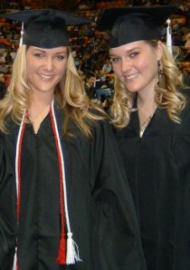 Lexie (L), Lindsay (R) at graduation for our bachelor's degrees in 2006 at Utah State University.