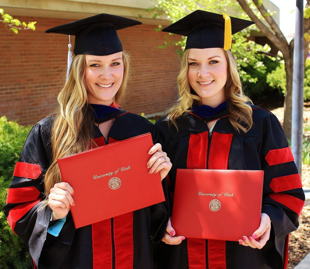 Lexie (L), Lindsay (R): Graduating with our PhDs from the University of Utah in 2013.